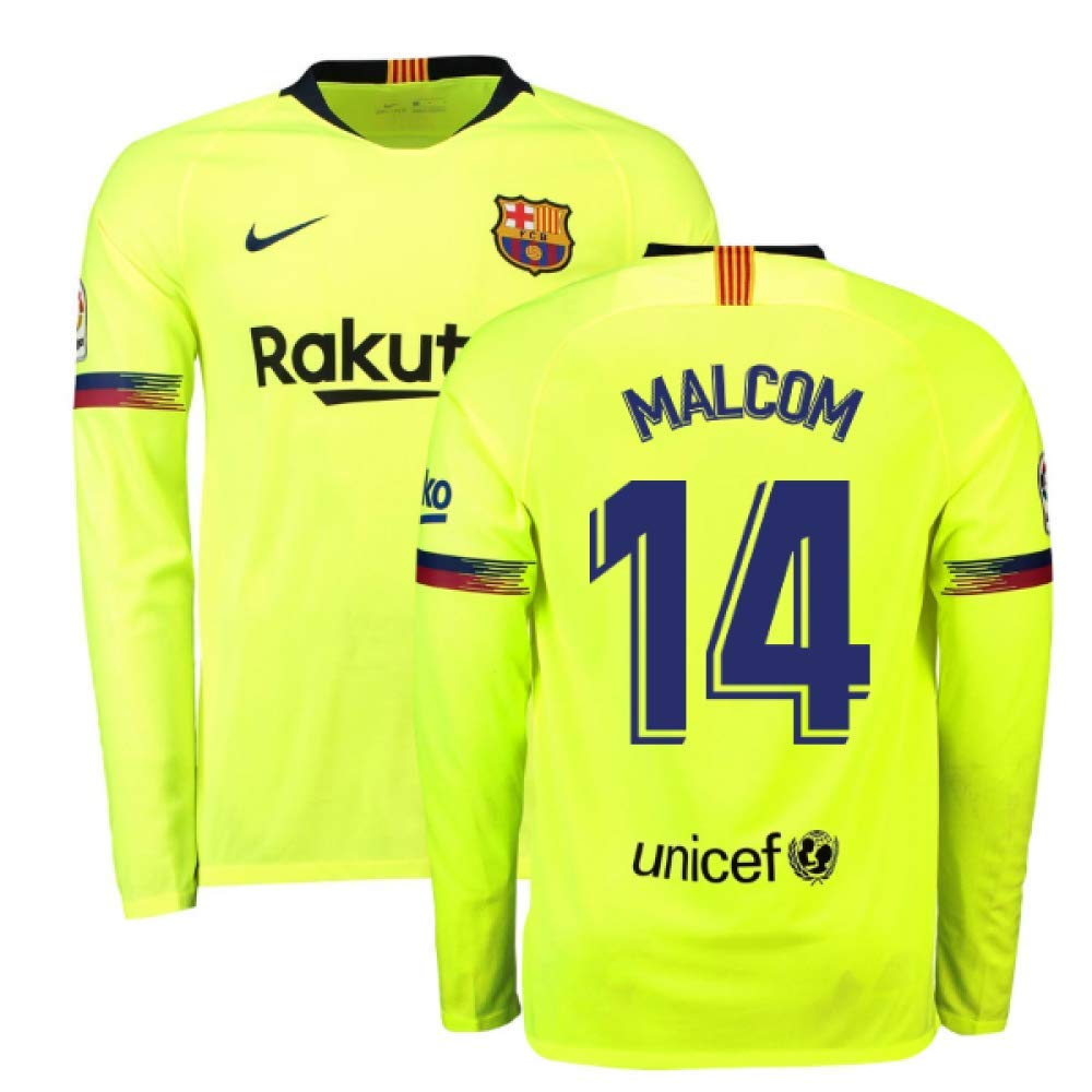 2018-2019 Barcelona Away Nike Long Sleeve Football Soccer T-Shirt Trikot (Malcom 14)
