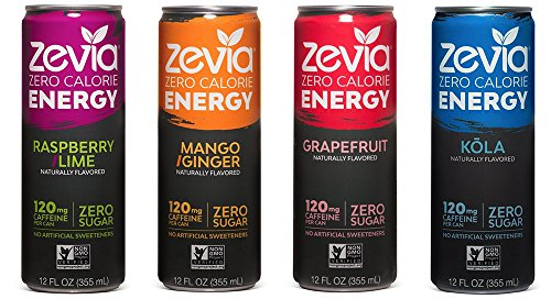 Zevia Zero Calorie Energy Drink, Variety Pack, 12 Ounce (Pack of 12)