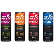 Zevia Zero Calorie Energy Drink Naturally Sweetened Energy Drink, Variety Pack, (12) 12 Ounce Cans; Mango Ginger, Raspberry Lime, Grapefruit, and Cola-flavored Caffeinated Beverages with No Sugar