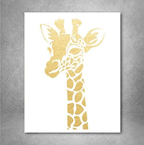 - Giraffe Print Gold Foil Wall Art Print, Decor Animal Print Metallic Wall Art Poster 8 x 10 inches A4