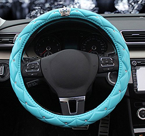 (BAIMIL Car Steering Wheel Cover Universal Cystal Crown PU Leather DAD Diamond Steering Wheel Cover 15 inch Blue)