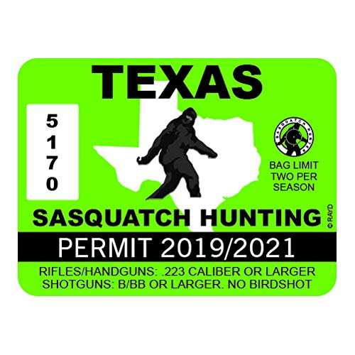 "RDW Texas Sasquatch Hunting Permit - Color Sticker - Decal - Die Cut - Size: 4.00"" x 3.00"""