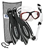 Cressi Frog Plus Fin Focus Silicone Mask Dry Snorkel Set, Black Red, X-Small/Small/Men' s 5-7/Women's 6-8