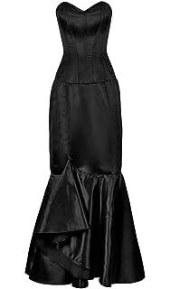 304683021ae JapanAttitude Robe Corset Satin Noir élégante Gothique Chic et Longue Jupe