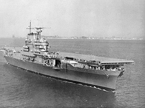 (Laminated Poster The U.S. Navy Aircraft Carrier USS Hornet (CV-8) underway in Hampton Roads, Virginia (USA), on 27 Oc)