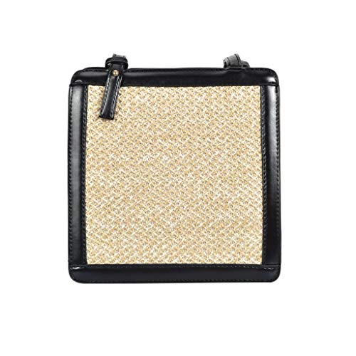 Pengy Women Chic Woven Handbag Square Handle Straw Tote Retro Large Capacity Casual Summer For Lady