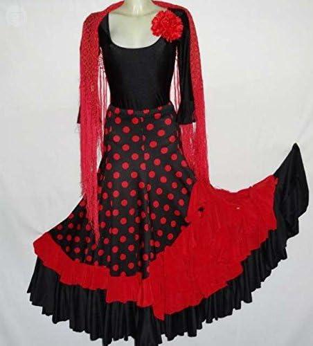 Falda de Flamenco (negro con rojo): Amazon.es: Deportes y aire libre