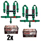 STVMotorsports 5 Point 3'' Straps Seat Harness Set Latch and Link Shoulder Pads RH5.3H - for Off-Road Vehicles, UTV, Trucks (Pair) (Green)