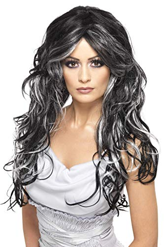 Smiffys Women's Long and Curly Wig with Silver