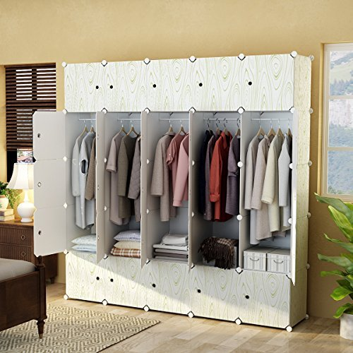 KOUSI Portable Closet Clothes Wardrobe Bedroom Armoire Storage Organizer with Doors, Capacious & Sturdy. 10 Cubes+5 Hanging Sections,White with Wood Grain Pattern (Wardrobe Single Armoire)