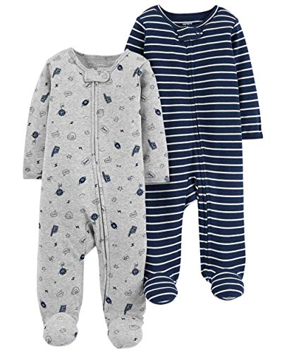 Carter's Baby Boys Footed Sleeper Cotton Sleep and Play Pajama with Zipper, Set of 2 (3 Months, Grey Sports Navy Stripes)