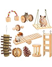 GoodsBeauty 10 Pack Hamster Chew Toys, Natural Wooden Cage Toys,Seesaw,Swing,Pine Ball for Guinea Pigs Chinchillas Bunny Gerbils Small Animals Teeth Exercise Toys
