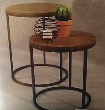 2x Table Gigogne Loft Design Appoint Desserte Guéridon Metal Bois