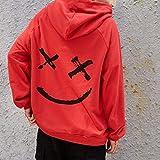 Men Pullover Hoodie Sweater Smile BE Happy Print