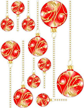 Amazoncom Red And Gold Christmas Ornaments Static Cling Window - Snowflake window stickers amazon