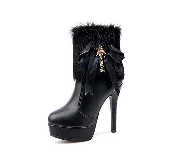 12Cm Tacón De Aguja Botines Martin Boot Vestido De Novia Botas Mujer Elegante Puntera De Peluche Bowknot OL Corte Zapatos UE Tamaño 34-40: Amazon.es: ...