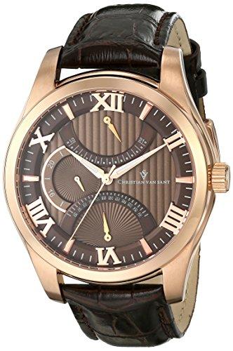 Christian Van Sant Men's CV7311 Oak Analog Display Quartz Brown Watch