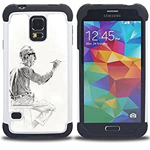 """SAMSUNG Galaxy S5 V / i9600 / SM-G900 - 3 en 1 impreso colorido de Altas Prestaciones PC Funda chaqueta Negro cubierta gel silicona suave (Artista Pintor Hombre Pintura Dibujo"""")"""