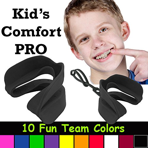 (Kid's Comfort PRO Youth Double Sports Mouth Guard Wear with or Without Braces (Black))