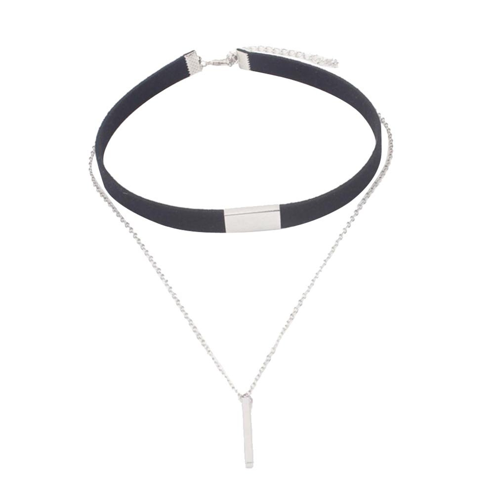 Start Girls Women Chokers + Gold Chain Necklace Collar Couble Jewelry (Black & Silver)