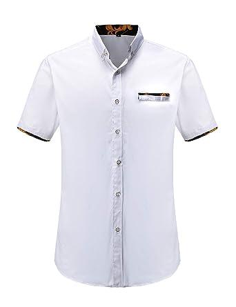 3936c51f0da JEETOO Men s Floral Shirts Short Sleeve Print Dress Shirt Button Down  Summer Casual Shirt (White
