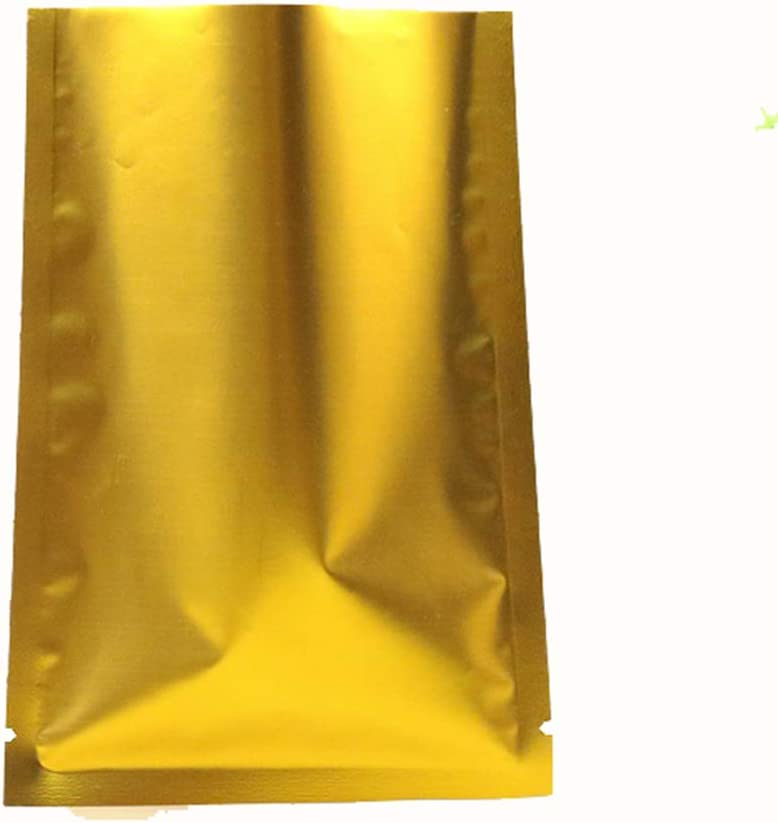 """100 Pack Aluminum Foil Smell Proof Pouch Heat Seal Open Top Flat Mylar Bags Food Storage Packaging Vacuum Coffee Candy Tea Foil Pouch With Tear Notch (Matte Gold, 12x18cm (4.7x7.1""""))"""