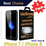 📱GlasStrong📱9H Hardness HD Screen protector for Apple iPhone 7 / iPhone 8 Tempered glass Clear Film IPHONE Anti Scratch Anti Fingerprint High Light Case Friendly 3 Pack kit setRetail packaging