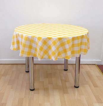 Yellow And White Check Gingham Polyester Round Tablecloth 54u0026quot; Diameter  Over Locked With Quality Cotton
