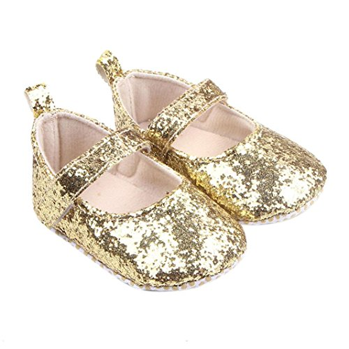 DZT1968® Baby Girl Sequin Soft Sole Mary Jane Shoes Prewalker (0~6 Months, Gold) (Sequins Ballet Shoes)