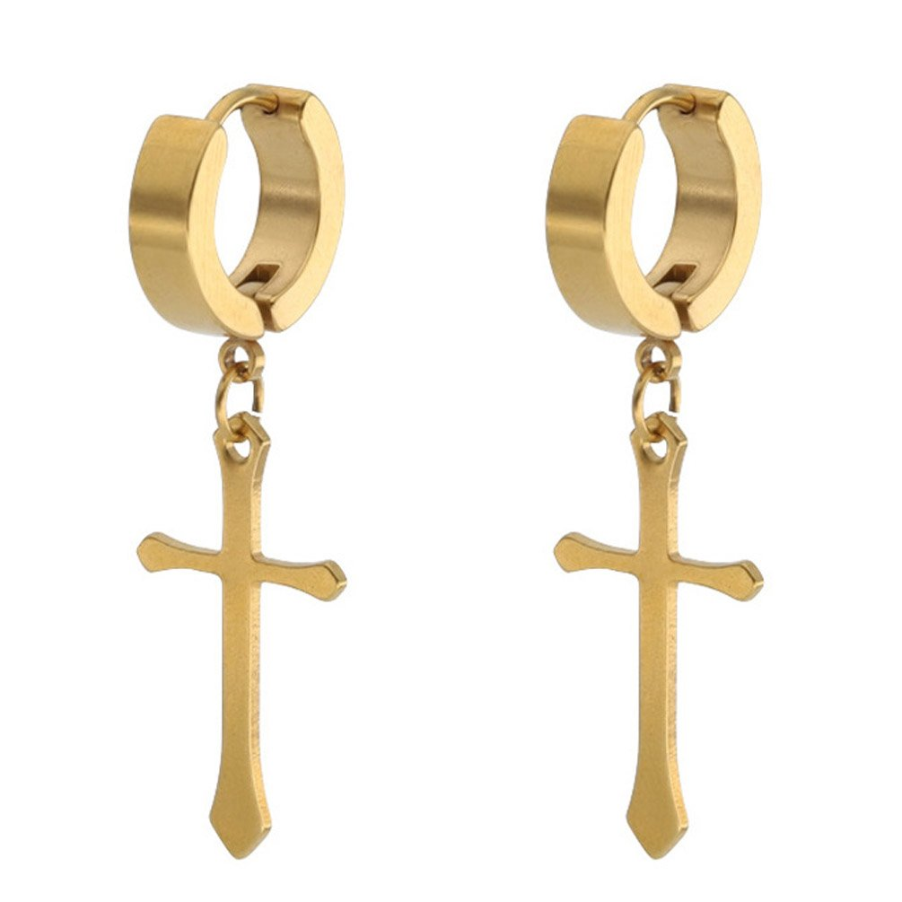Dangle Earring Stainless Steel Jesus Cross Charm Dangle Hoop Punk Earrings for Girl Women Gold-tone