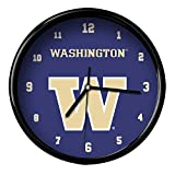The Memory Company NCAA University of Washington Official Black Rim Basic Clock, Multicolor, One Size