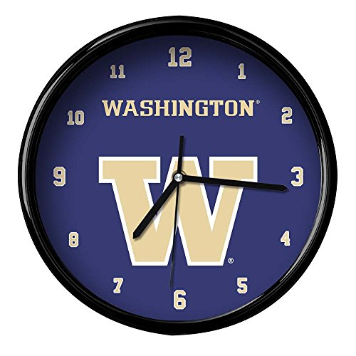 The Memory Company NCAA University of Washington Official Black Rim Basic Clock, Multicolor, One Size by The Memory Company