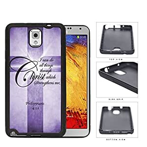 Philippians 4:13 Bible Verse with Cross and Purple Grunge Samsung Galaxy Note III 3 N9000 Rubber Silicone TPU Cell Phone Case