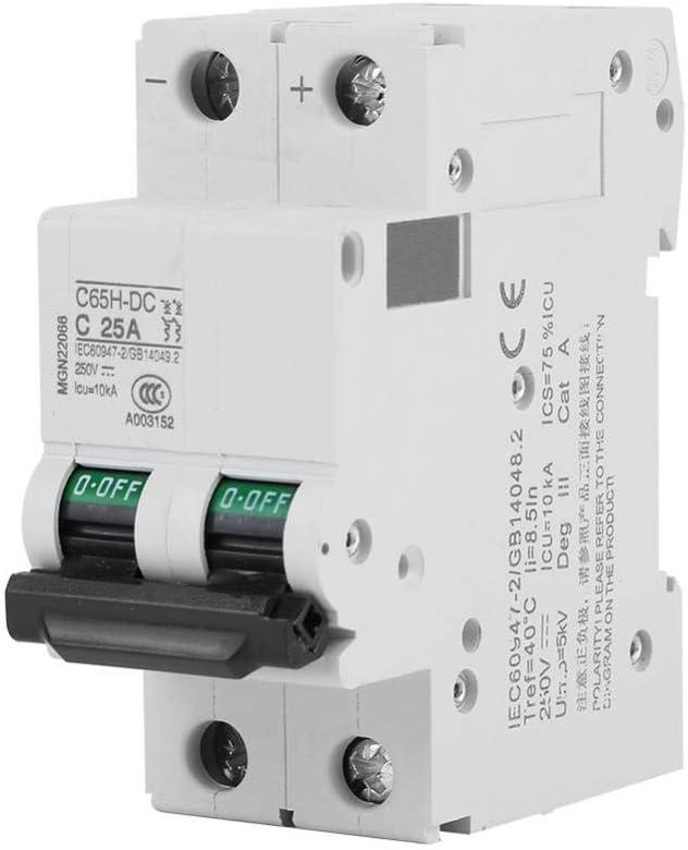 #1 40A de disjoncteur Miniature /à Basse Tension de CC de 250V DC 2P Zetiling Commutateur d/énergie Solaire 25A