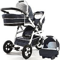 BBtwin - Passeggino trio doppio per bambini di diverse eta. 2 passeggini + 1 navicella + 1 ovetto + accessori. Jeans