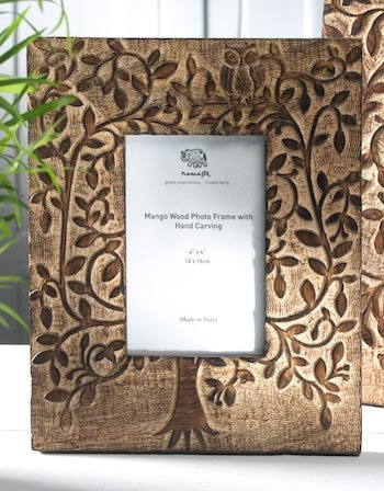 W Weblytech Tree of Life & Owl Design Hand Engraved Wooden Rustic Photo Picture Frame Vintage - Frames Wooden Engraved Picture