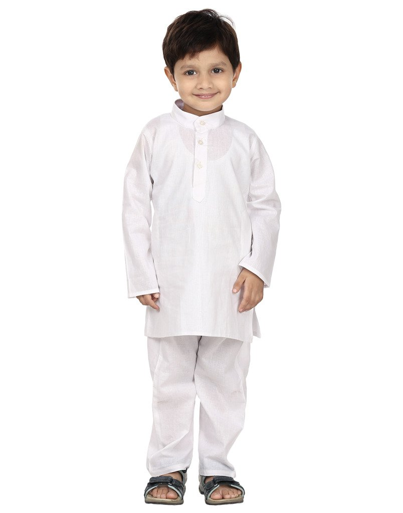 FOCIL Indian Republic Day Special White Solid Cotton Kurta Pyjama for Kids (5-6 Years)