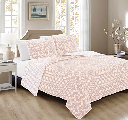 -Piece Luxury Quilt Set with Shams. Soft All-Season Microfiber Reversible Bedspread and Coverlet with Unique Pattern. By Home Fashion Designs Brand. (King, Silver Peony) (Peony Pattern)