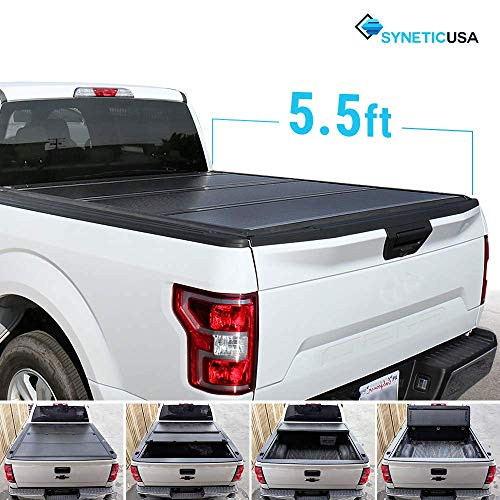 Syneticusa Aluminum Hard Folding Tonneau Cover Tri-Fold Cargo Truck Bed Cover for 2004-2018 Ford F-150 F150 5.5ft Short Bed