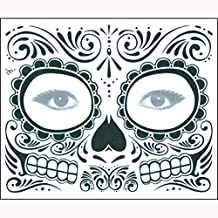 Jinjiums Tattoos,2PCS Day The Dead Temporary Cool Face Mask Sugar Skull Tattoo Beauty Halloween Party