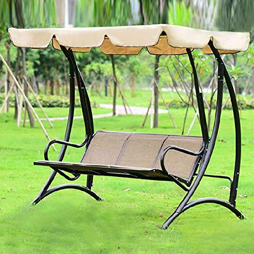 WEHOLY Swing Hammock Garden Patio Swing Chair 3 Seater Heavy Duty Outdoor Canopy Swing Chair, Bearing Strong, for Outdoor Terraces