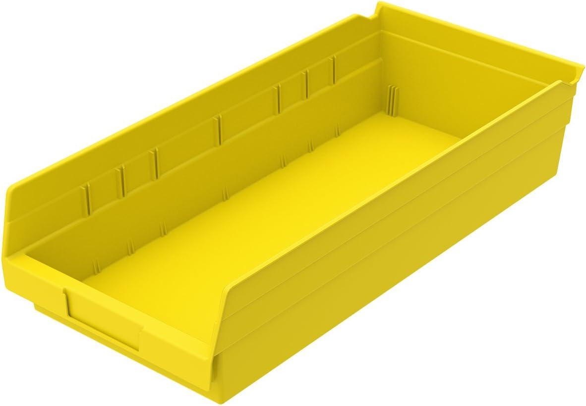 Akro-Mils 30158 Plastic Nesting Shelf Bin Box, (18-Inch x 8-Inch x 4-Inch), Yellow, (12-Pack)