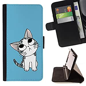 DEVIL CASE - FOR Sony Xperia M2 - Cute Thinking Cat - Style PU Leather Case Wallet Flip Stand Flap Closure Cover