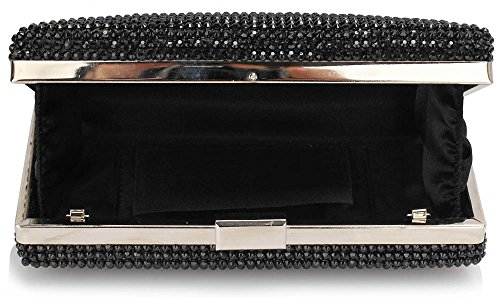 Wedding Handbag Bag Design Diamante Evening Box Party Hardcase Look 1 Sparkly Clutch Black With Chain For Designer IEwwvq6Tx
