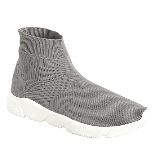 Women's High-Top Knit Elastic Fabric Sock Fit Comfort Fashion Sneakers