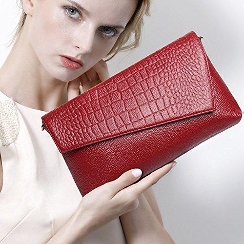 en Red NBWE main Sac Messenger de d'embrayage à Sac Sac Shoulder Enveloppe Femme soirée Sacs New cuir H11TgwnqW