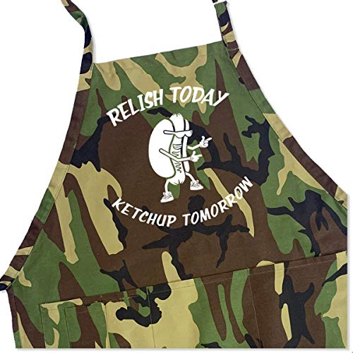 (Relish Today Ketchup Tomorrow Apron - Men's BBQ Grill Apron - 1 Size fits All)