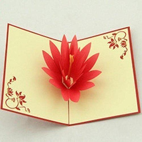 Bc Worldwide Ltd Lotus Flower 3d Pop Up Greeting Card Handmade
