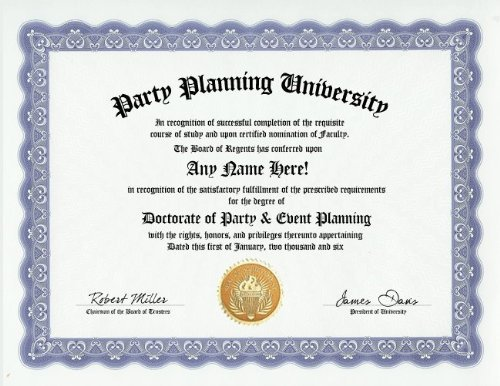 Amazon.com: Party Planner Planning Degree: Custom Gag Diploma ...