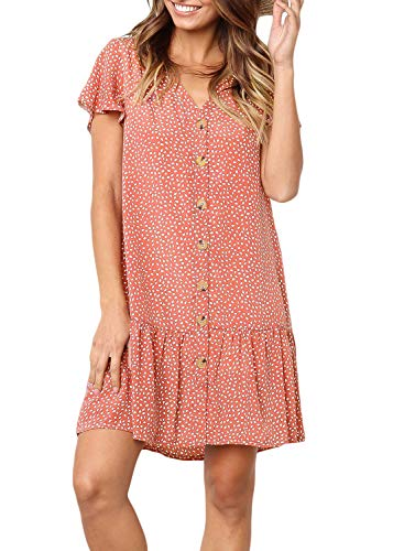 CANIKAT Women's Summer Short Sleeve Button Down Front Ruffles Mini Dress V Neck Polka Dot Print Loose Swing Shift T-Shirt Dress Red L (Print Butterfly Tunic)